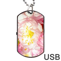 Pink Flowering Almond Flowers Dog Tag Usb Flash (one Side) by FunnyCow