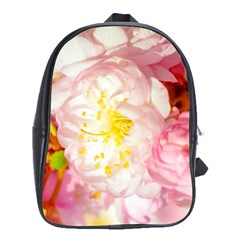 Pink Flowering Almond Flowers School Bag (xl) by FunnyCow