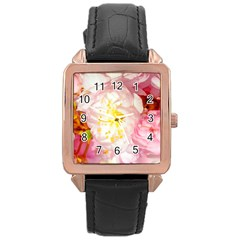 Pink Flowering Almond Flowers Rose Gold Leather Watch  by FunnyCow