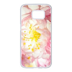 Pink Flowering Almond Flowers Samsung Galaxy S7 Edge White Seamless Case by FunnyCow