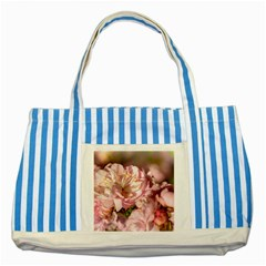 Beautiful Flowering Almond Striped Blue Tote Bag by FunnyCow