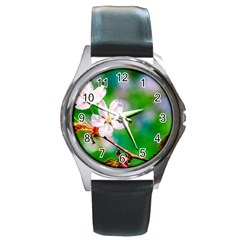 Sakura Flowers On Green Round Metal Watch by FunnyCow