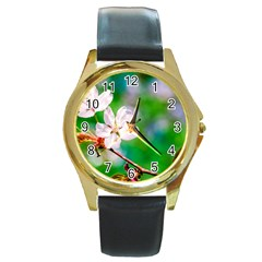 Sakura Flowers On Green Round Gold Metal Watch by FunnyCow