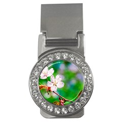 Sakura Flowers On Green Money Clips (cz)  by FunnyCow