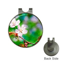 Sakura Flowers On Green Hat Clips With Golf Markers by FunnyCow