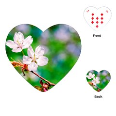 Sakura Flowers On Green Playing Cards (heart)  by FunnyCow