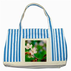 Sakura Flowers On Green Striped Blue Tote Bag by FunnyCow