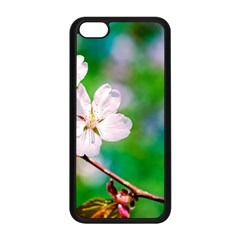 Sakura Flowers On Green Apple Iphone 5c Seamless Case (black) by FunnyCow