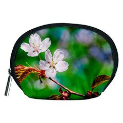 Sakura Flowers On Green Accessory Pouches (medium)  by FunnyCow