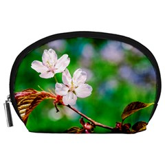 Sakura Flowers On Green Accessory Pouches (large)  by FunnyCow