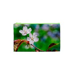 Sakura Flowers On Green Cosmetic Bag (xs) by FunnyCow