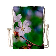 Sakura Flowers On Green Drawstring Bag (small) by FunnyCow