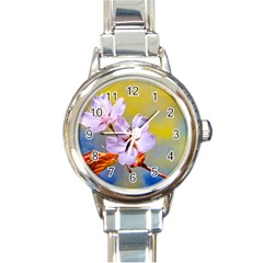 Sakura Flowers On Yellow Round Italian Charm Watch by FunnyCow