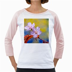 Sakura Flowers On Yellow Girly Raglan by FunnyCow
