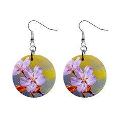 Sakura Flowers On Yellow Mini Button Earrings by FunnyCow