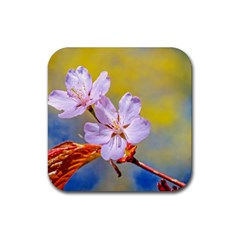 Sakura Flowers On Yellow Rubber Square Coaster (4 Pack)  by FunnyCow