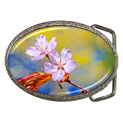 Sakura Flowers On Yellow Belt Buckles by FunnyCow