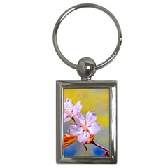 Sakura Flowers On Yellow Key Chains (rectangle)  by FunnyCow
