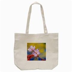 Sakura Flowers On Yellow Tote Bag (cream) by FunnyCow
