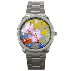 Sakura Flowers On Yellow Sport Metal Watch by FunnyCow
