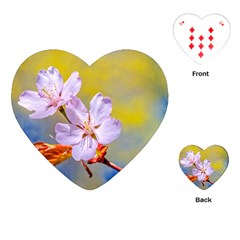 Sakura Flowers On Yellow Playing Cards (heart)  by FunnyCow