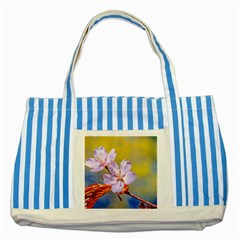 Sakura Flowers On Yellow Striped Blue Tote Bag by FunnyCow