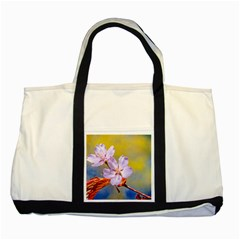 Sakura Flowers On Yellow Two Tone Tote Bag by FunnyCow