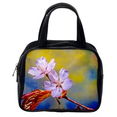Sakura Flowers On Yellow Classic Handbags (one Side) by FunnyCow