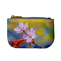 Sakura Flowers On Yellow Mini Coin Purses by FunnyCow