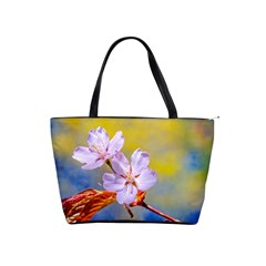 Sakura Flowers On Yellow Shoulder Handbags by FunnyCow
