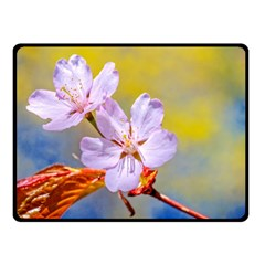 Sakura Flowers On Yellow Fleece Blanket (small) by FunnyCow