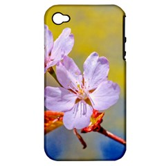 Sakura Flowers On Yellow Apple Iphone 4/4s Hardshell Case (pc+silicone) by FunnyCow