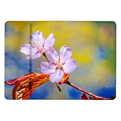 Sakura Flowers On Yellow Samsung Galaxy Tab 10 1  P7500 Flip Case by FunnyCow