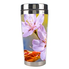 Sakura Flowers On Yellow Stainless Steel Travel Tumblers by FunnyCow