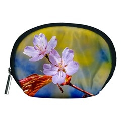 Sakura Flowers On Yellow Accessory Pouches (medium)  by FunnyCow