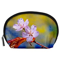 Sakura Flowers On Yellow Accessory Pouches (large)  by FunnyCow