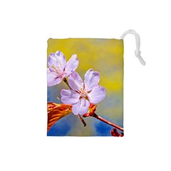 Sakura Flowers On Yellow Drawstring Pouches (small)  by FunnyCow