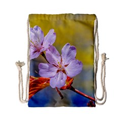 Sakura Flowers On Yellow Drawstring Bag (small) by FunnyCow