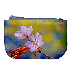 Sakura Flowers On Yellow Large Coin Purse by FunnyCow