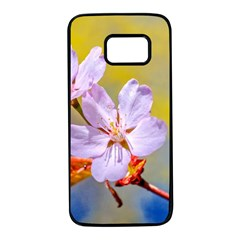 Sakura Flowers On Yellow Samsung Galaxy S7 Black Seamless Case by FunnyCow