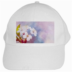 Pink Mist Of Sakura White Cap by FunnyCow