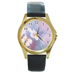 Pink Mist Of Sakura Round Gold Metal Watch by FunnyCow