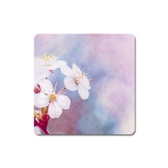 Pink Mist Of Sakura Square Magnet by FunnyCow