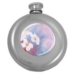 Pink Mist Of Sakura Round Hip Flask (5 Oz) by FunnyCow