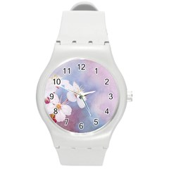 Pink Mist Of Sakura Round Plastic Sport Watch (m) by FunnyCow