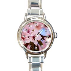 Three Sakura Flowers Round Italian Charm Watch by FunnyCow
