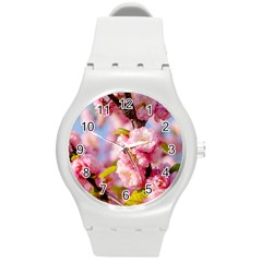 Flowering Almond Flowersg Round Plastic Sport Watch (m) by FunnyCow