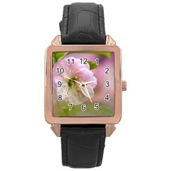 Single Almond Flower Rose Gold Leather Watch