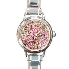 Almond Tree In Bloom Round Italian Charm Watch by FunnyCow