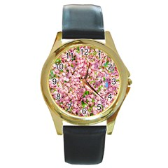 Almond Tree In Bloom Round Gold Metal Watch by FunnyCow
